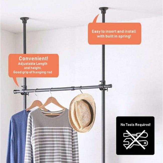 HEIAN 2 Tier Adjustable Clothes Hanger Rack - Black - 1