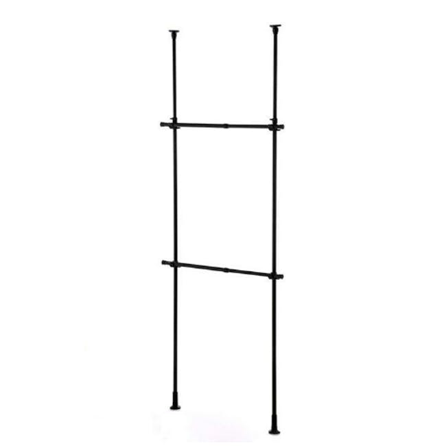 HEIAN 2 Tier Adjustable Clothes Hanger Rack - Black - 3