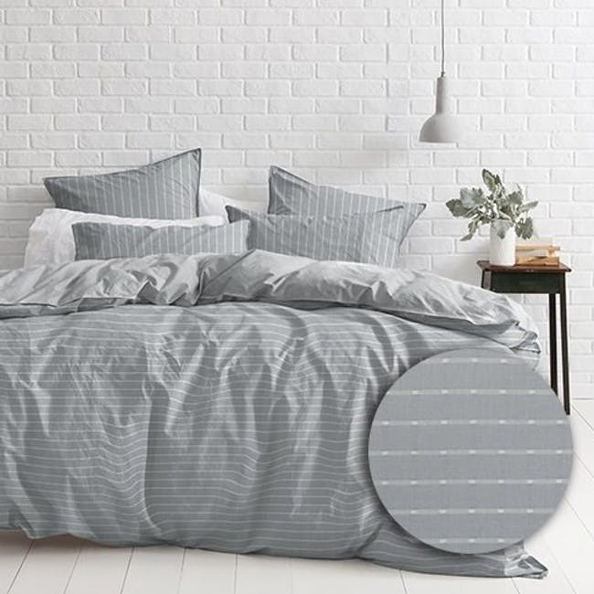 Canningvale Sleep Easy Linea Quilt Cover Set - French Grey (2 Sizes) - 0