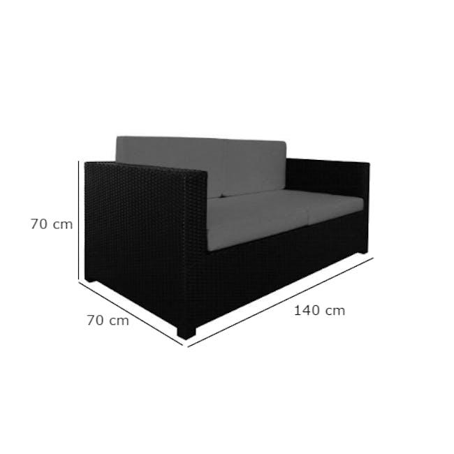 Black Fiesta Outdoor Sofa Set II - White Cushions - 9