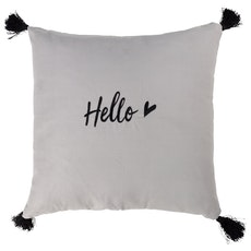 Tassel Hello Cushion - Grey