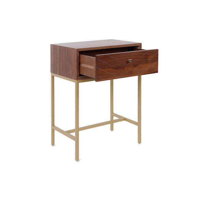 Nixon Bedside Table - Gold, Walnut - 1