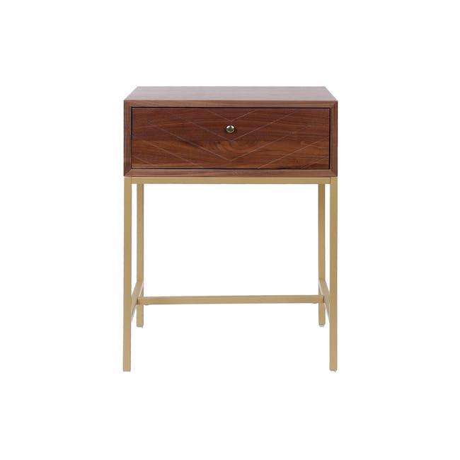 Nixon Bedside Table - Gold, Walnut - 2