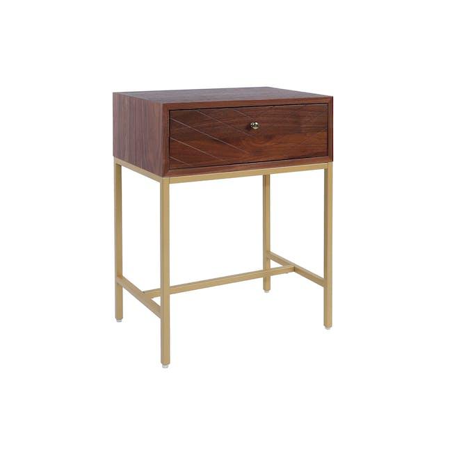 Nixon Bedside Table - Gold, Walnut - 0