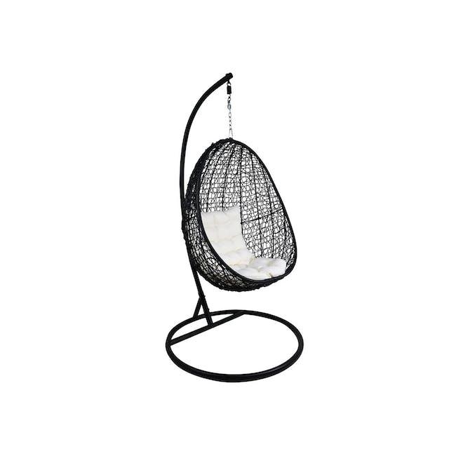 Black Cocoon Swing Chair - White Cushion - 0