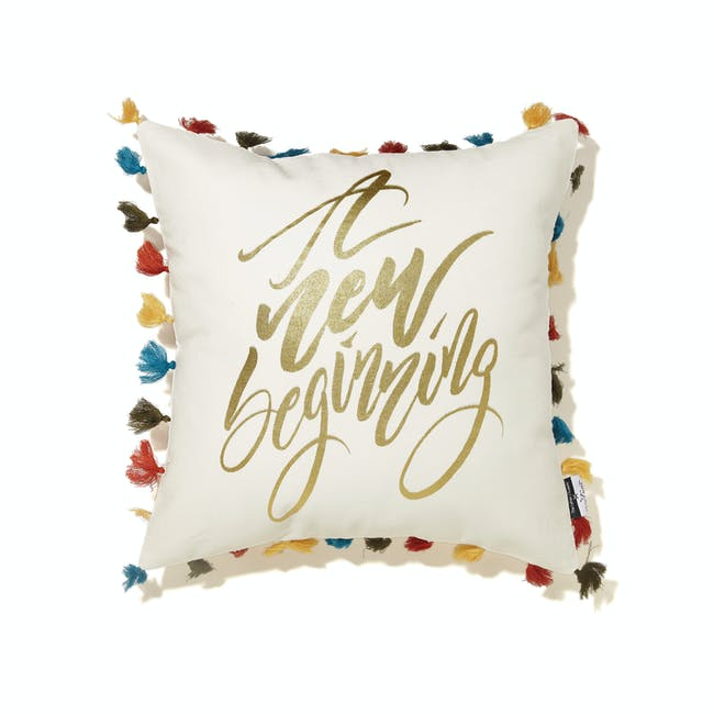 A New Beginning Cushion Cover - Gold Wording - 0
