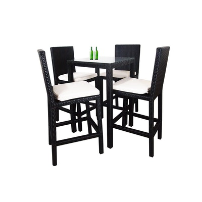 Midas Dining Set with 4 Chair and White Cushion