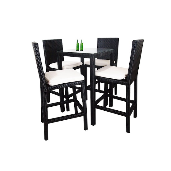 Arena Living - Midas Outdoor Dining Bar Set with 4 Chair and White Cushion
