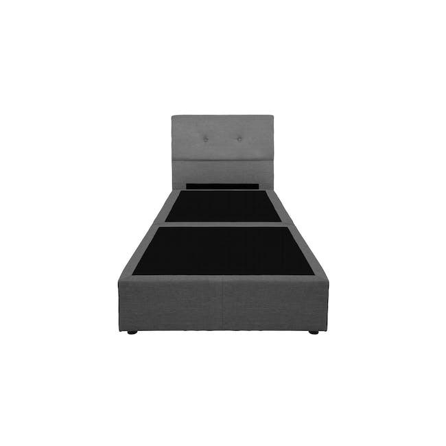 ESSENTIALS Single Headboard Box Bed - Smoke (Fabric) - 1