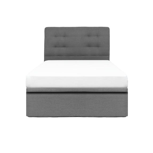 ESSENTIALS Single Headboard Storage Bed - Grey (Fabric) - 0