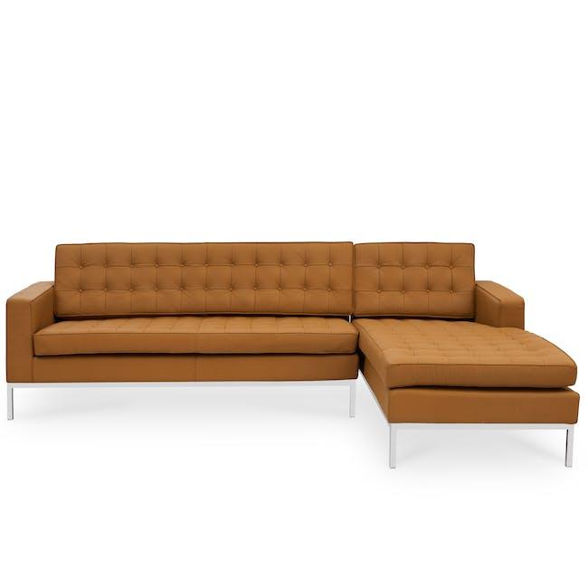 Florence Knoll L-Shaped Sofa Replica - Tan (Genuine Cowhide) - 0
