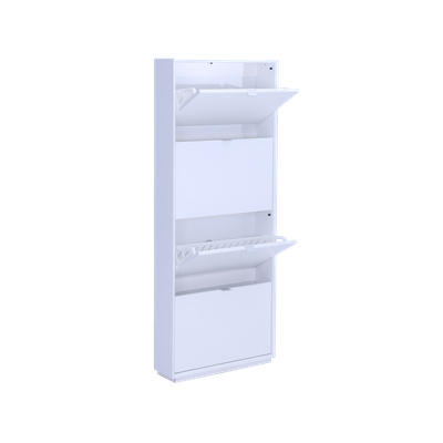 Quen 4 Door Shoe Cabinet - White - Image 2