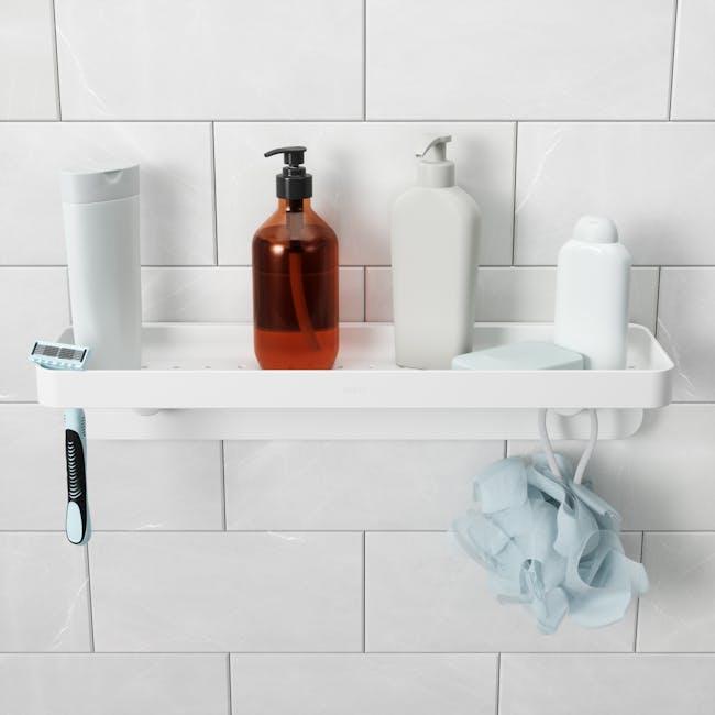 Flex Gel Lock Bathroom Shelf  - White - 3