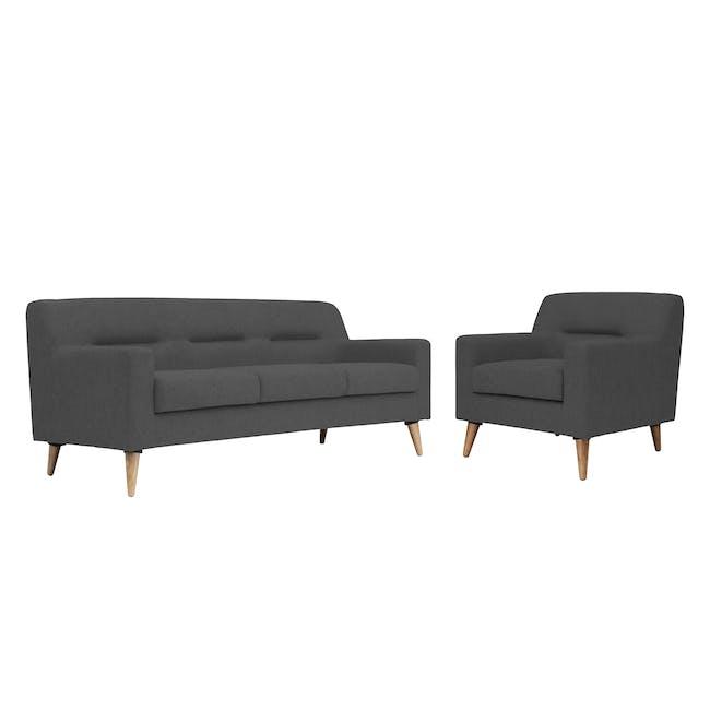 Damien 3 Seater Sofa with Damien Armchair - Onyx Grey - 0
