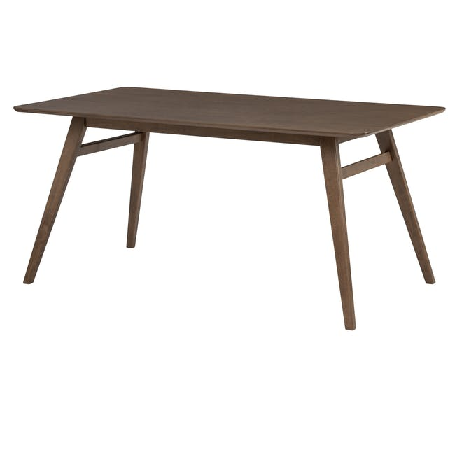 Cadell Dining Table 1.6m in Walnut with 4 Lofti Dining Chair in Cocoa, Battleship Grey - 1
