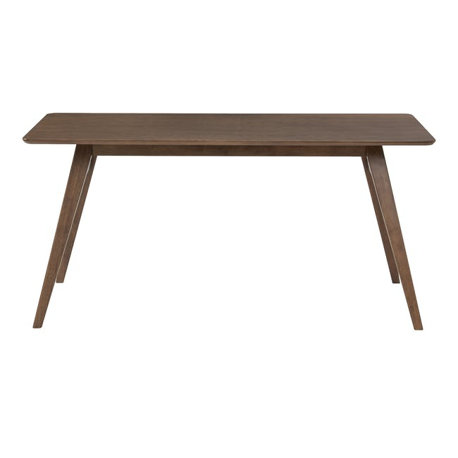 Cadell Dining Table 1.6m in Walnut with 4 Lofti Dining Chair in Cocoa, Battleship Grey - 2