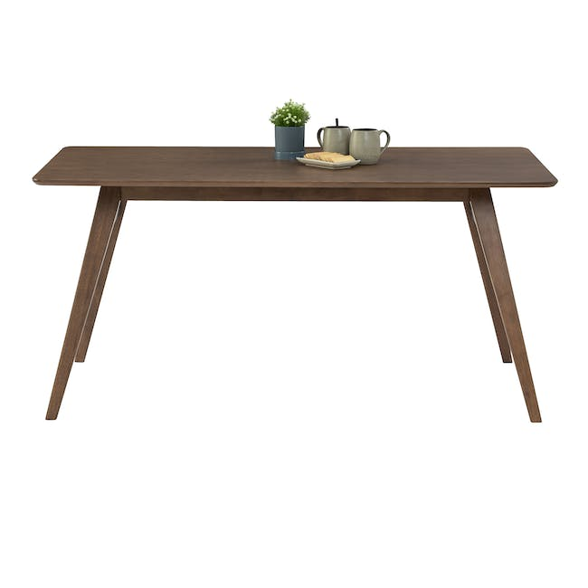 Cadell Dining Table 1.6m in Walnut with 4 Lofti Dining Chair in Cocoa, Battleship Grey - 4