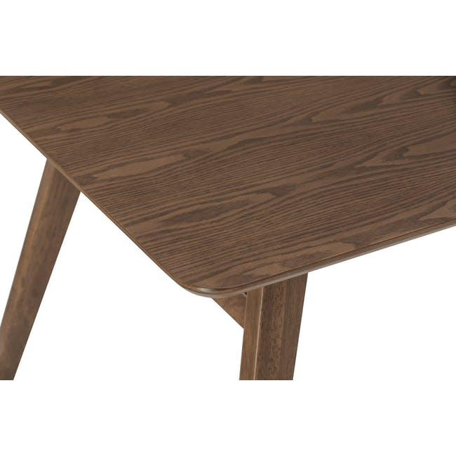 Cadell Dining Table 1.6m in Walnut with 4 Lofti Dining Chair in Cocoa, Battleship Grey - 5