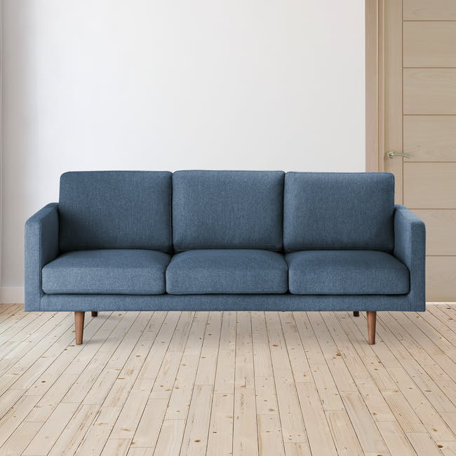 Declan 3 Seater Sofa - Walnut, Admiral Blue - 1