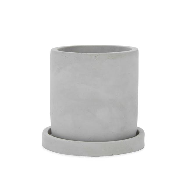 Round Concrete Pot with Saucer - Medium - 0