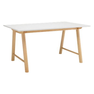 (As-is) Ernest Dining Table 1.5m - White, Oak - 2 - Image 1