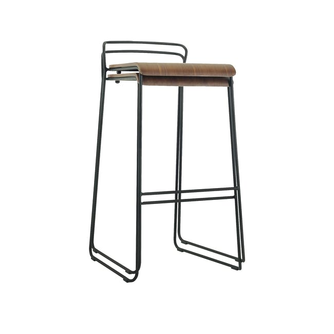 Colby Bar Chair - Walnut, Matt Black - 1