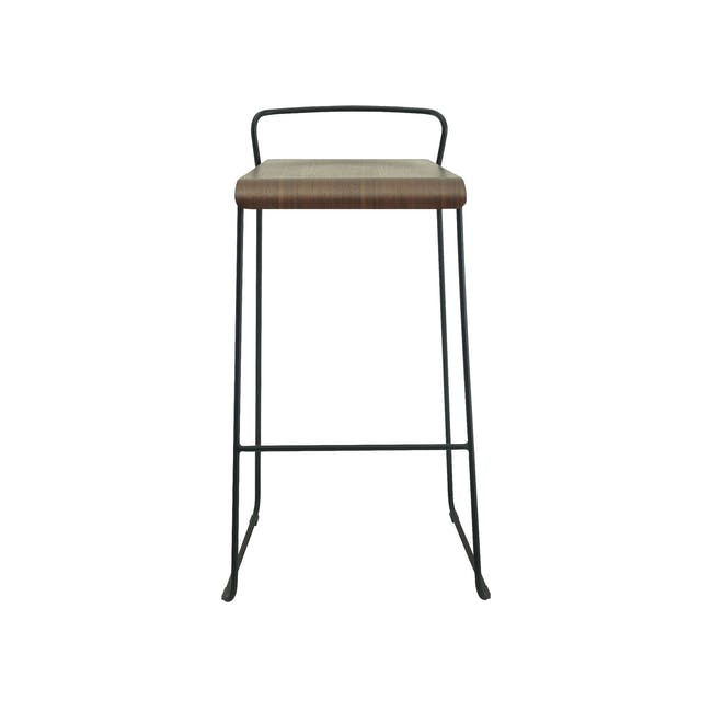 Colby Bar Chair - Walnut, Matt Black - 3