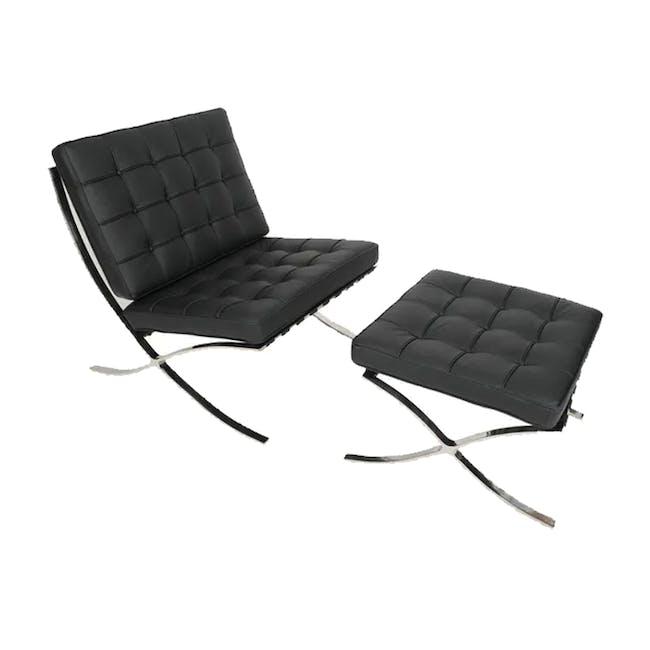 Barcelona Chair with Barcelona Ottoman - Black (Genuine Cowhide) - 0