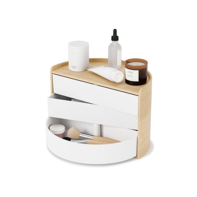 Moona Rotating Storage Box - White, Natural - 0