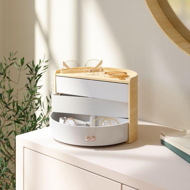 Moona Rotating Storage Box - White, Natural - 9
