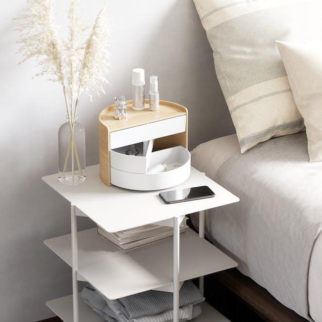 Moona Rotating Storage Box - White, Natural - 10