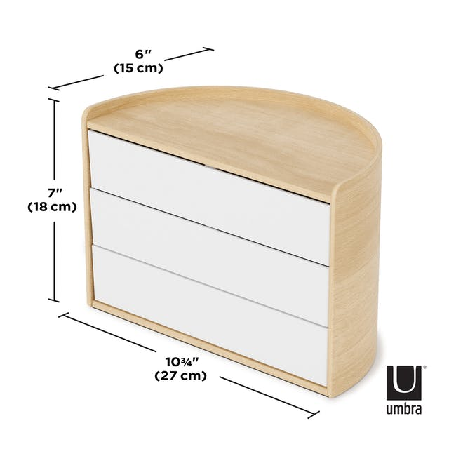 Moona Rotating Storage Box - White, Natural - 5