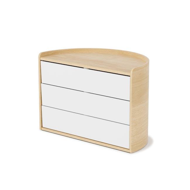 Moona Rotating Storage Box - White, Natural - 2
