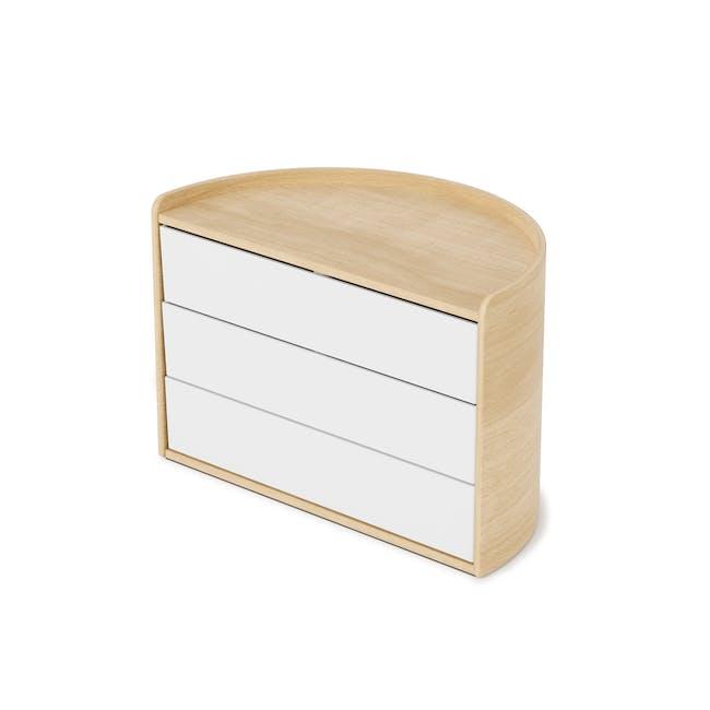 Moona Rotating Storage Box - White, Natural - 1