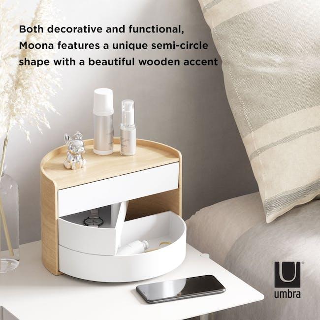 Moona Rotating Storage Box - White, Natural - 8