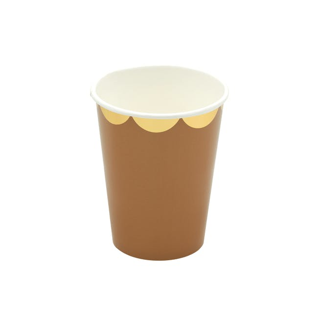 Scalloped Gold Kraft Paper Cup - Set of 8 - 1