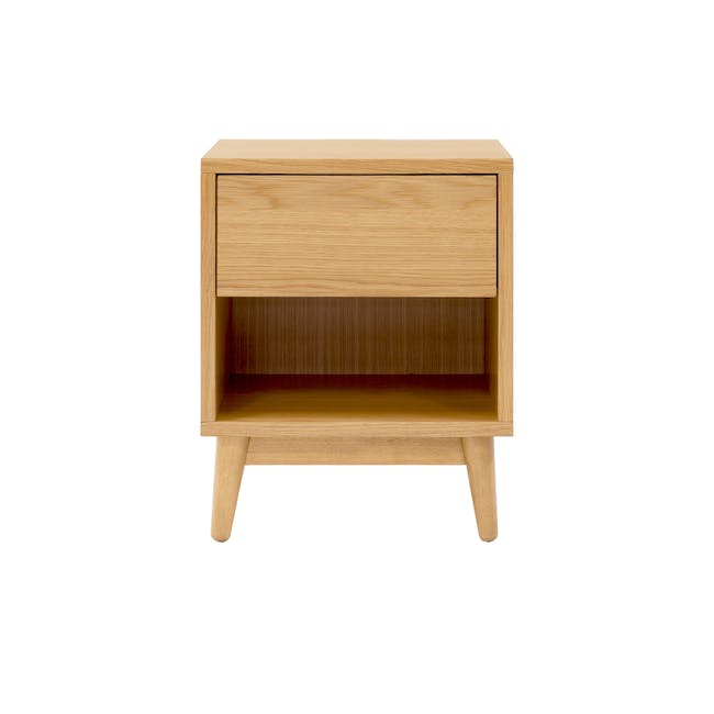 Audrey King Storage Bed in Silver Fox with 2 Kyoto Top Drawer Bedside Tables in Oak - 8