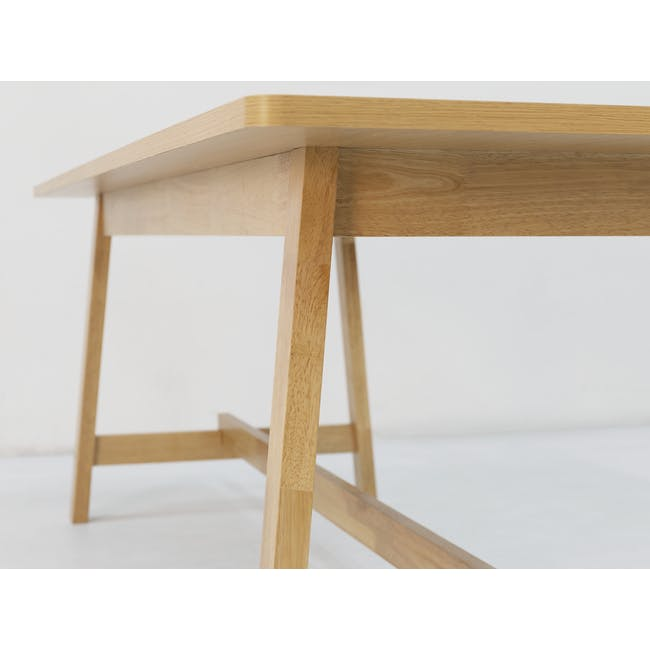 Haynes Table 2.2m in Oak with 4 Ladee Dining Chairs in Natural, Pale Grey - 11