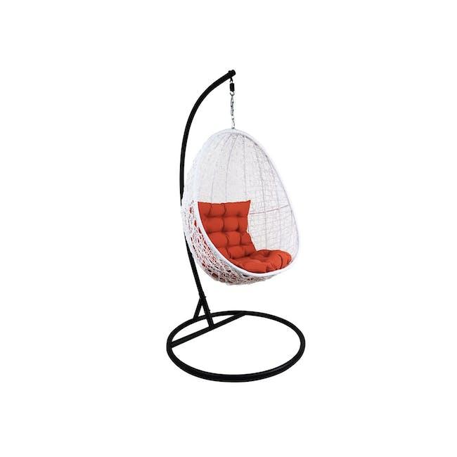 White Cocoon Swing Chair - Orange Cushion - 0