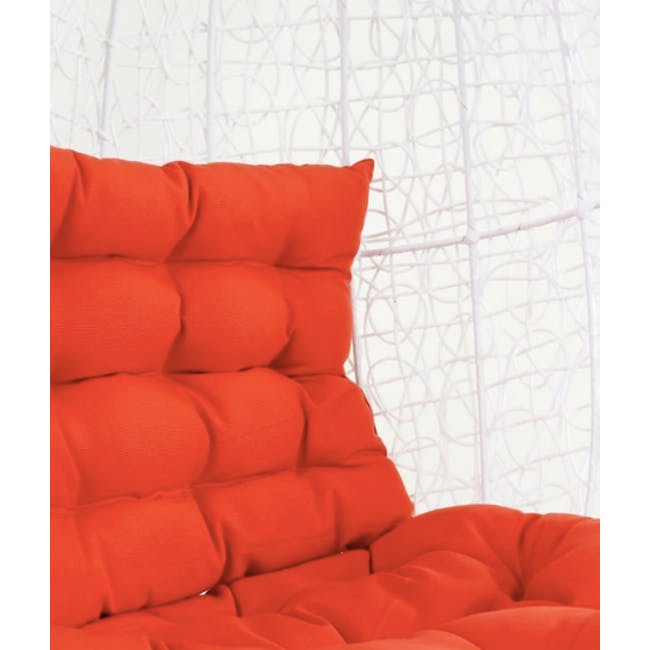 White Cocoon Swing Chair - Orange Cushion - 1