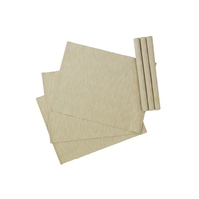 Rectangular Cotton Placemats (Set of 6) - Beige