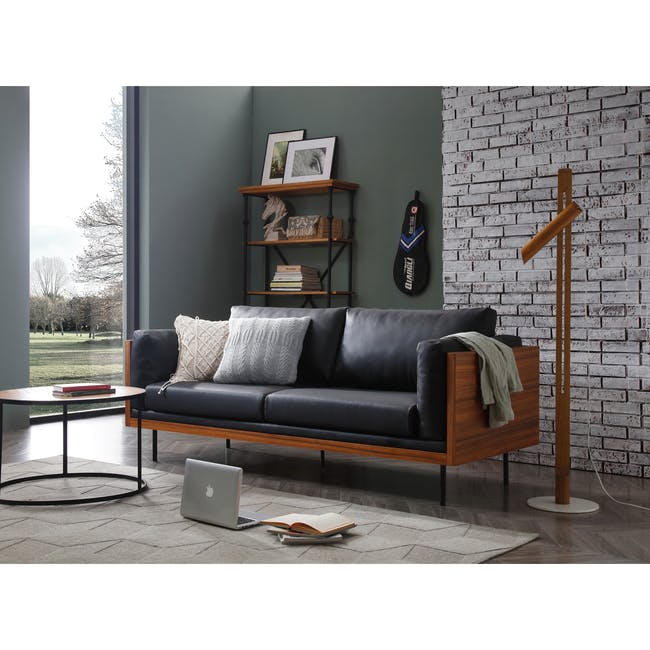 Bentley 3 Seater Sofa - Jet Black (Faux Leather) - 1