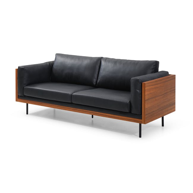 Bentley 3 Seater Sofa - Jet Black (Faux Leather) - 2