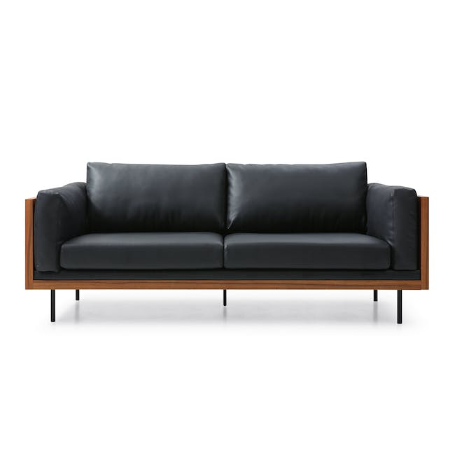 Bentley 3 Seater Sofa - Jet Black (Faux Leather) - 0