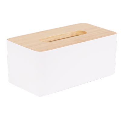 Wooden Tissue Box - White - Image 1