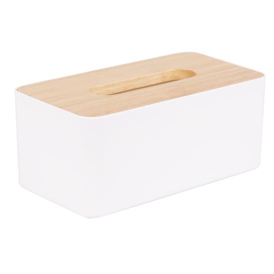 1688 - Wooden Tissue Box - White