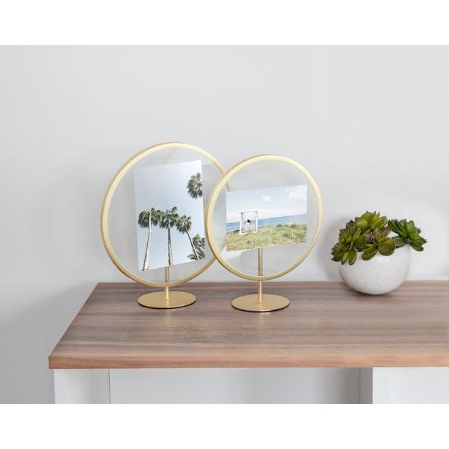 Infinity Round Photo Display - Large - Matte Brass - 1