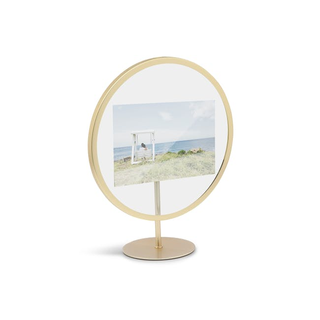 Infinity Round Photo Display - Large - Matte Brass - 2