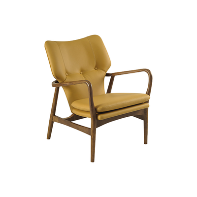Uta Lounge Chair in Premium Vinyl - Caramel, Walnut