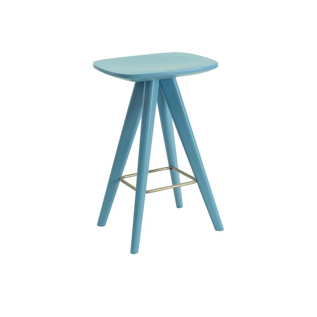 (As-is) Freya Counter Stool - Dust Blue Lacquered - 11 - 0